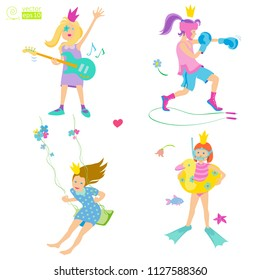 vector set of playing girls - princesses, consisting of a boxer girl, girl on a swing, girl with a guitar, girl swimmer. flat style, gentle colors