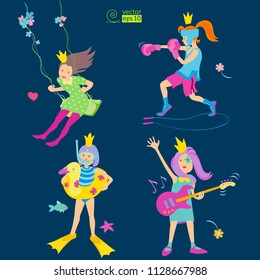vector set of playing princesses on dark background, consisting of a boxer girl, girl on a swing, girl with a guitar, girl swimmer. flat style, gentle colors