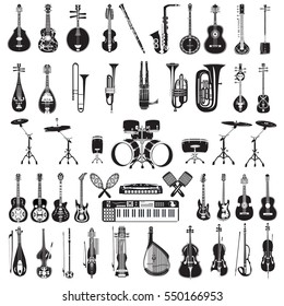 Vector set of plucked and bowed string, wind and other musical instruments isolated on white background. Black and white icons, flat style design.