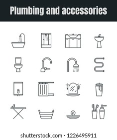 Vector set of plumbing and accessories icons.