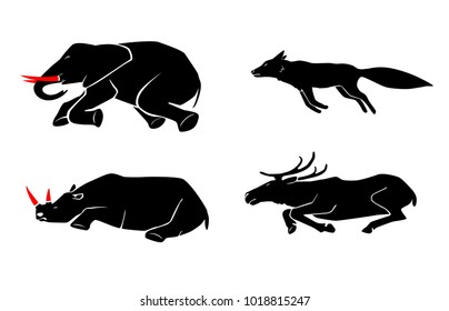 Vector set of poaching and illegal animal hunting icons. Social problem of danger for safety of wildlife. Pictograms of dead animals.