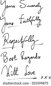 Vector of a set of polite handwritten notes