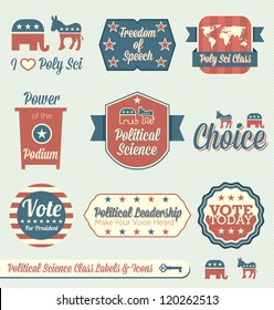 Vector Set: Political Science Class Labels and Icons