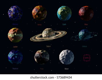 Vector set of polygonal planets of the Solar System, including Pluto, and Moon.