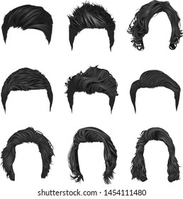 Vector set of popular men's hairstyles, both short and long natural color