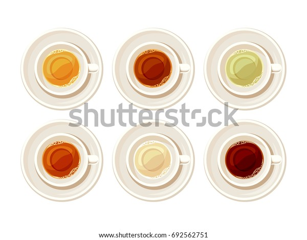 Vector set of porcelain cups of tea isolated on a white background.