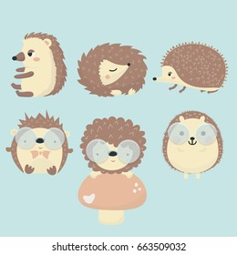 Vector set of porcupine.