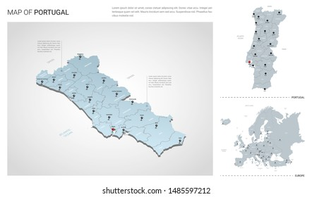 Vector set of Portugal country.  Isometric 3d map, Portugal map, Europe map - with region, state names and city names.