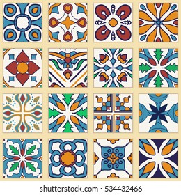 Vector set of Portuguese tiles. Collection of colored patterns for design and fashion. Azulejo, Spanish, Moroccan ornaments