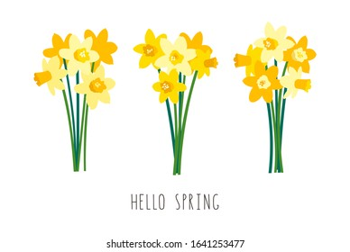 Vector set of positive floral illustrations isolated on white background. Early spring garden flowers. Yellow daffodils bouquet. Greeting card template, festive poster, banner. Handwritten lettering