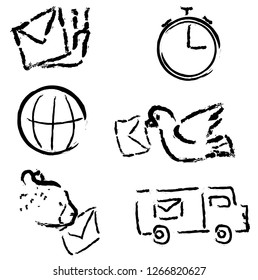 Vector set of post icons slowly and quickly