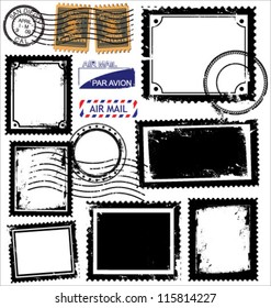 Vector set of postage stamps