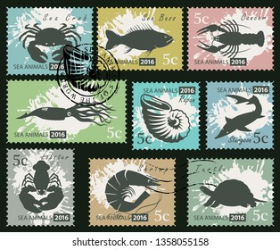 Vector set of postage stamps on the theme of underwater sea animals. Silhouettes of various marine animals on an abstract background with spots in retro style