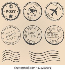Vector set of postal stamps on brown background. Mail, post office, air mail, russian post, american post, new york, china post, wave stamp.
