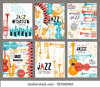 Vector set poster for the jazz festival with music instruments. Perfect for music events, jazz concerts.