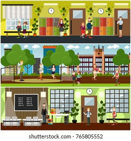 Vector set of posters with teachers, school children at lesson, in sports ground, classroom and hallway interior with furniture, lockers and school supplies. School concept flat style design elements.