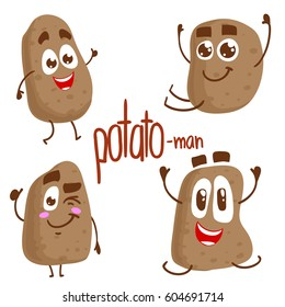 Vector set of potato characters. Emotions. Isolated on white background. Stickers.