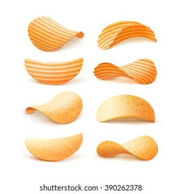 Vector  Set of  Potato Ripple Crispy Chips Close up Isolated on White Background