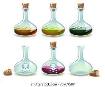 Vector set of potions and empty vials