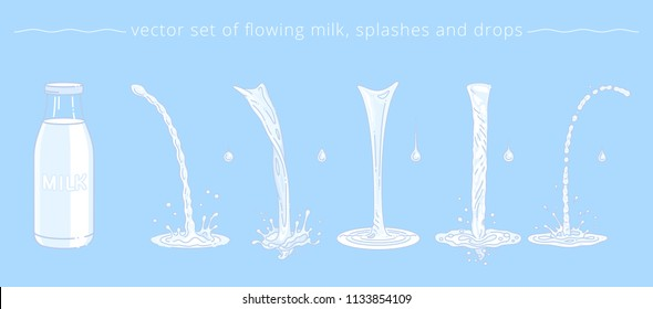 Vector set of pouring milk, trickles, drops and splashes. Cartoon bottle and collection of white liquid parts. Templates for promotion of milk, yogurt, sour cream, diary cocktail or cosmetic lotion.