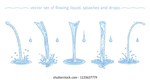 Vector set of pouring water flows, drops and splashes. Purified drinking and tap water. Various streams and trickles. Collection of light blue liquid elements. Simple templates. Modern linear style.