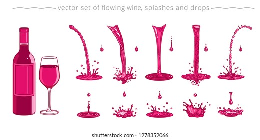 Vector set of pouring wine flows, drops and splashes. Various streams and trickles. Collection of ruby red liquid elements. Cartoon bottle of wine and wineglass. Simple templates. Modern linear style