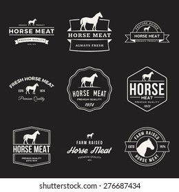 vector set of premium horse meat labels, badges and design elements with grunge textures