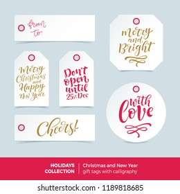 Vector set of printable holidays labels with calligraphy. Merry Christmas and Happy New Year ready-to-use gift tags. Hand drawn lettering, seasonal design for badge, cards, prins, signs or banners