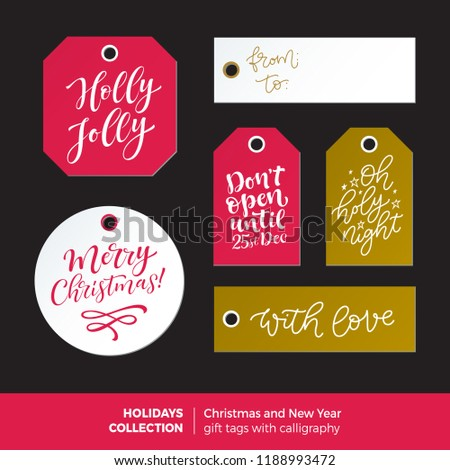 vector set of printable holidays labels with calligraphy merry christmas and happy new year ready