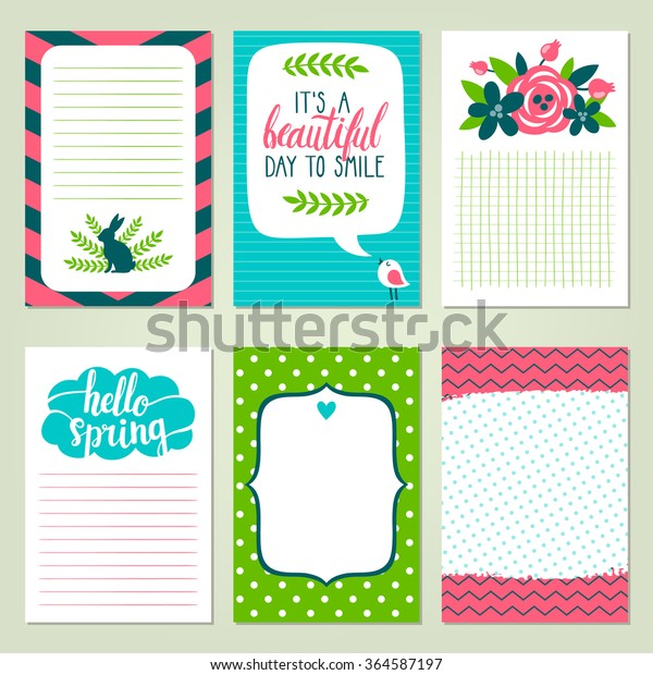 photo about Free Printable Journaling Cards called Vector Fastened Printable Journaling Playing cards Shiny Inventory Vector
