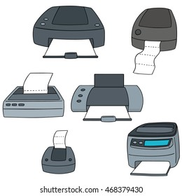 vector set of printer