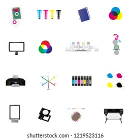 Vector set of printing or graphic arts icons for printing plant, printing house or graphic studio – printers, colors, tools and other illustrations isolated on a white background