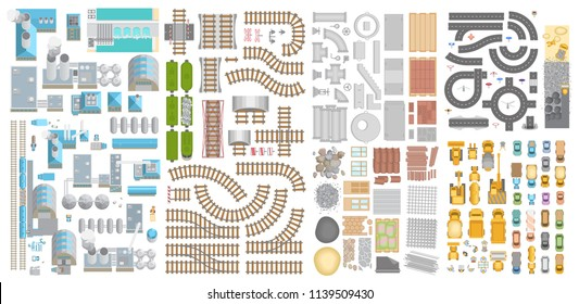 Vector set. Production, construction, transport. Top view. Factories, railway, construction machinery and materials, road and cars.