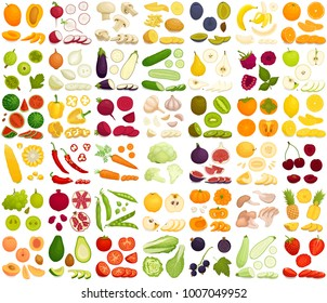 Vector set of products. A variety of vegetables, fruits and berries in a cartoon style. Sliced, whole, half, chopped and slices of different foods.