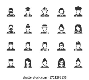 Vector set of profession flat icons. Contains icons doctor, seller, fireman, builder, administrator, maid, gardener, operator and more. Pixel perfect.