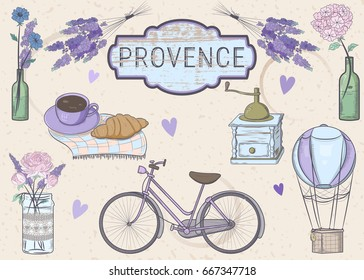 """Vector set """"Provence"""". Vector illustration of a lavender, a bicycle, a coffee grinder, a balloon, a cup with a croissant and flowers in vases"""