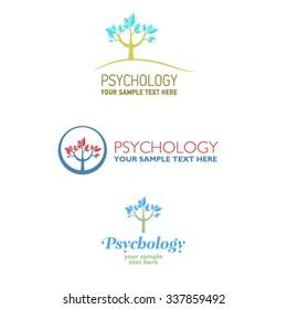 Vector set of psychological signs. Logo element. Symbol Psi.