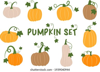 Vector Set of Pumpkins in Flat Style