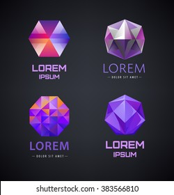 Vector set of purple crystal, faceted logos, 3d abstract logos, gem, jewelry logos, identity, icons. Dark background