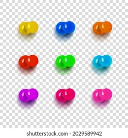 Vector Set of Pushbuttons, Different Colors, Pin Buttons Isolated on Light Transparent Background. Rainbow Colors. Design Elements Set.
