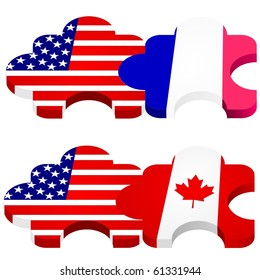 vector set of puzzles with national flags of USA, Canada, France