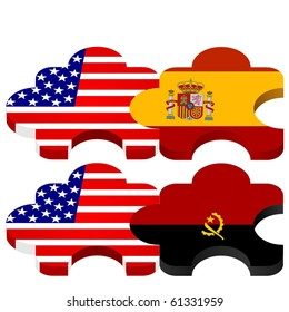 vector set of puzzles with national flags of USA,  Angola, Spain