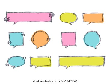 Vector set of quote blank template in pastel colors. Sketch banner backgrounds. and hand drawn frames. Blank speech bubbles for text information and print design.