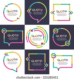Vector set of quote forms template. Multicolor trendy background. Blank overlapping colorful speech bubbles. Business template for text information and print design.