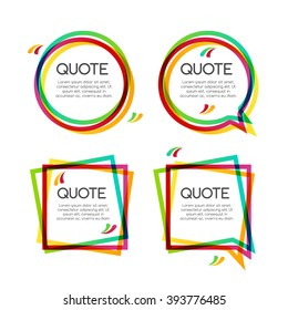 Vector set quote frame with commas, speech balloon, colorful quote dialog sign frames for modern design.