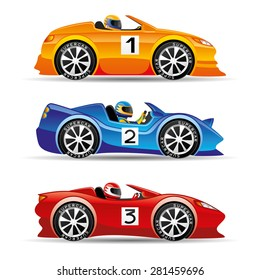 Vector set. Racing cars.