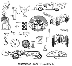 vector set of racing retro cars and related objects, such as pump, jack, speedometer, horn, canister, fueling column, etc. cartoon style, outline drawing.