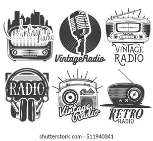 Vector set of radio and music labels in vintage style isolated on white background. Design elements and icons.