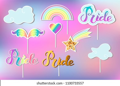 Vector set with Rainbow, cloud, heart, wings. Handwritten lettering Pride. Rainbow, clound, Pride as patch, stick cake toppers, drink toppers, laser cut plastic, props for Rainbow party, lgbt concept