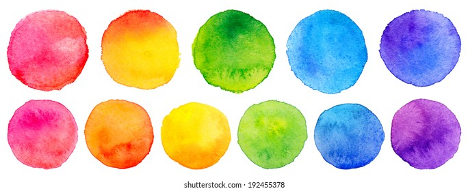 Vector set of rainbow watercolor circles